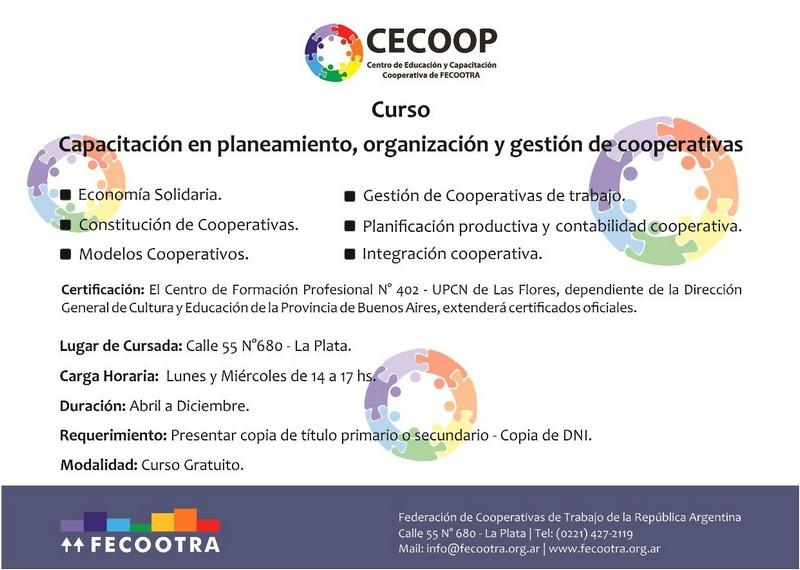 Capacitación en planeamiento, organización y gestión de cooperativas